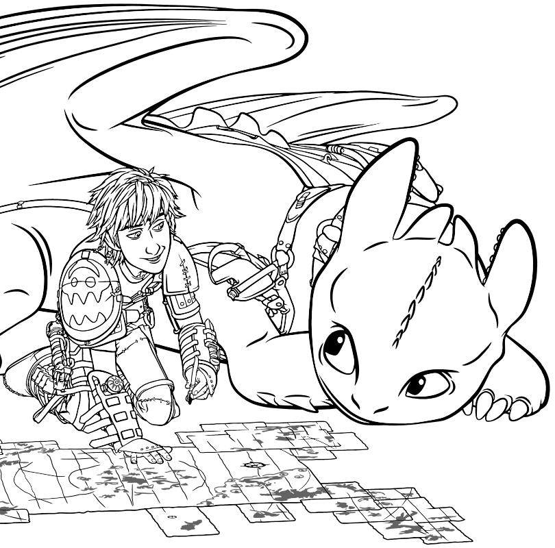 Раскраска - Как приручить дракона 2 - Иккинг с Беззубиком ...