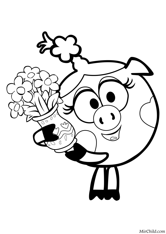 Раскраска - Смешарики - Нюша с вазой цветов | MirChild