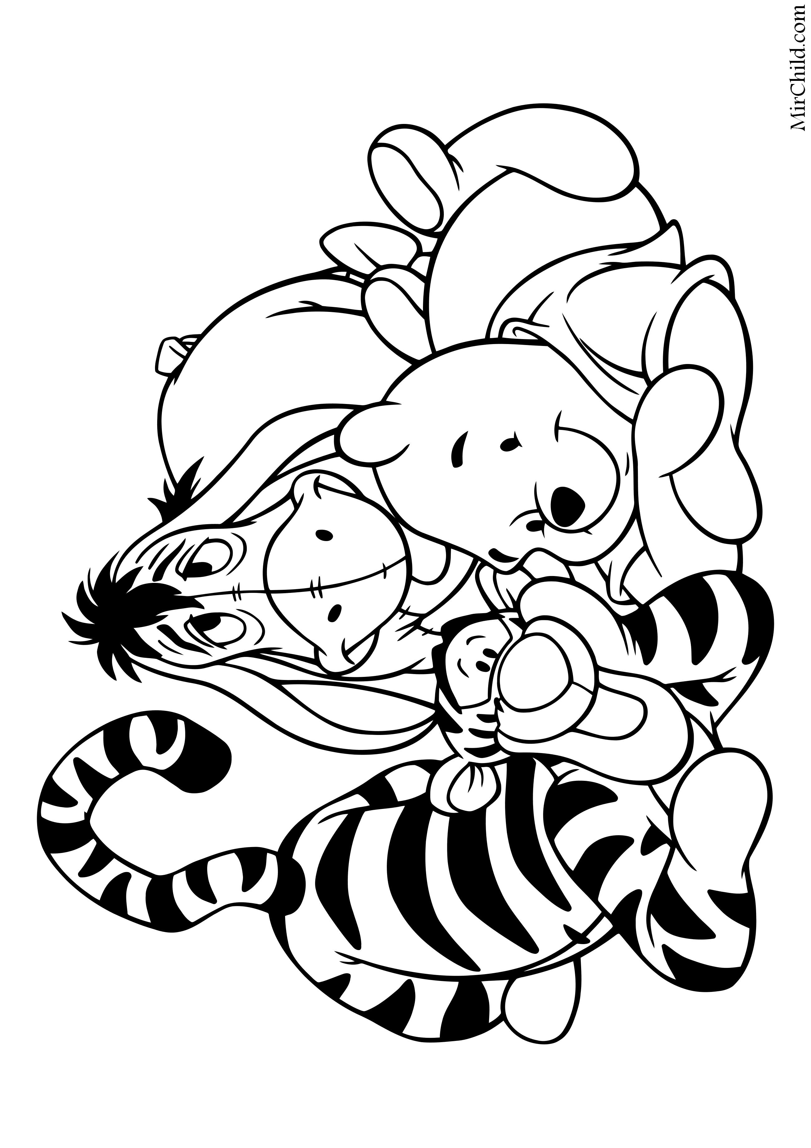 Раскраска - Винни-Пух (Дисней) - Тигра, ослик Иа и Винни ...