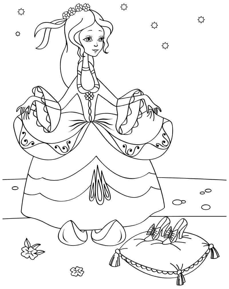 Раскраска - Золушка - Золушка в бальном платье | MirChild