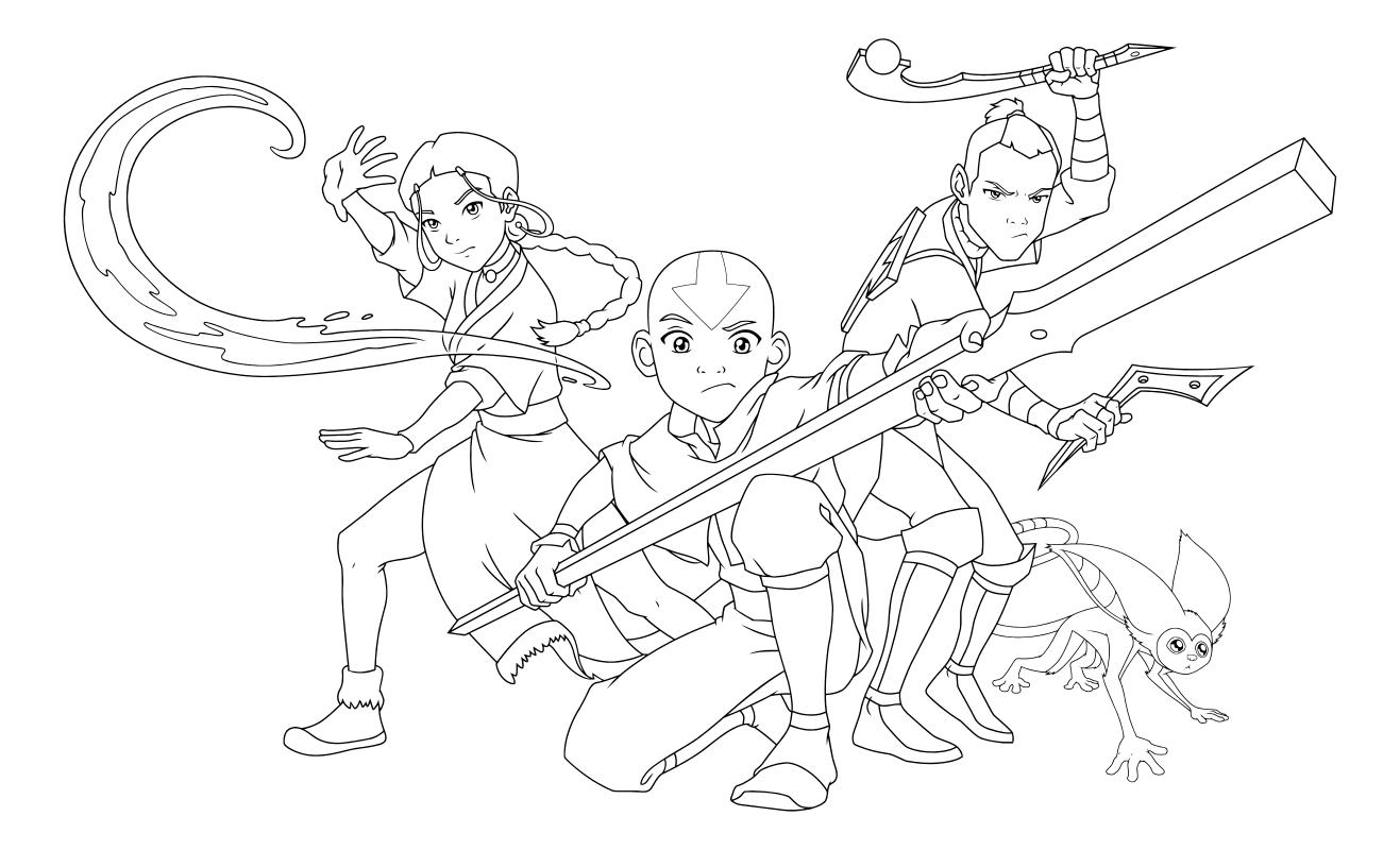 Raskraska Avatar Legenda Ob Aange Katara Aang I Sokka Mirchild
