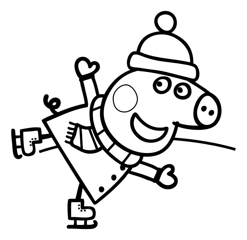 Раскраска - Свинка Пеппа - Пеппа катается на коньках ...
